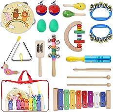 Yissvic Strumenti Musicali per Bambini 17pcs Giocattolo in Legno Musica Strumenti Bambini Gioco Educativo Imparare Musica Gioco Testati Sicuri