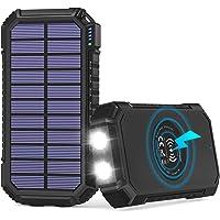 Solar Powerbank 26800mAh, Hiluckey Wireless Solar Ladegerät mit 4 Ausgängen USB C 3A Solar Power Bank Externer Akku für…