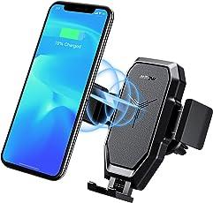 Qi Wireless Charger,Mpow Lüftung handyhalterung auto,Qi Schnell Ladende Drahtlose autohandyhalter,Unterstützung 10W+7,5W+5W Qi Wireless Charger KFZ-halter,10W Lüftung handyhalter für auto für Samsung Note 9 8 S9 S8 S7,7,5W für iPhone XS XS Max XR X 8 8plus,5W für alle Telefone, die Qi laden.Die Länge der Klemme liegt zwischen 61.7-92.9mm / 2.4-3.7in.
