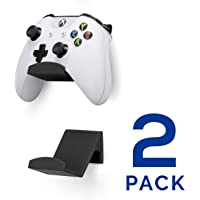 Game Controller Wall Mount Stand Holder (2 Pack) for XBOX ONE SWITCH PS4 STEAM PC NINTENDO, Universal Gamepad Accessories - No screws, Stick on, Black By Brainwavz
