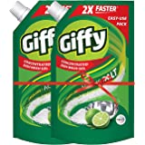 Giffy Green Lime & Active Salt Concentrated Dish Wash Gel by Wipro, 1000ml(Pack of 2)
