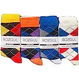 6 Pairs Mens Bright Argyle Diamond Cotton Rich Lycra Design Socks Size 6-11 Christmas Gift Socks, Rozgul®