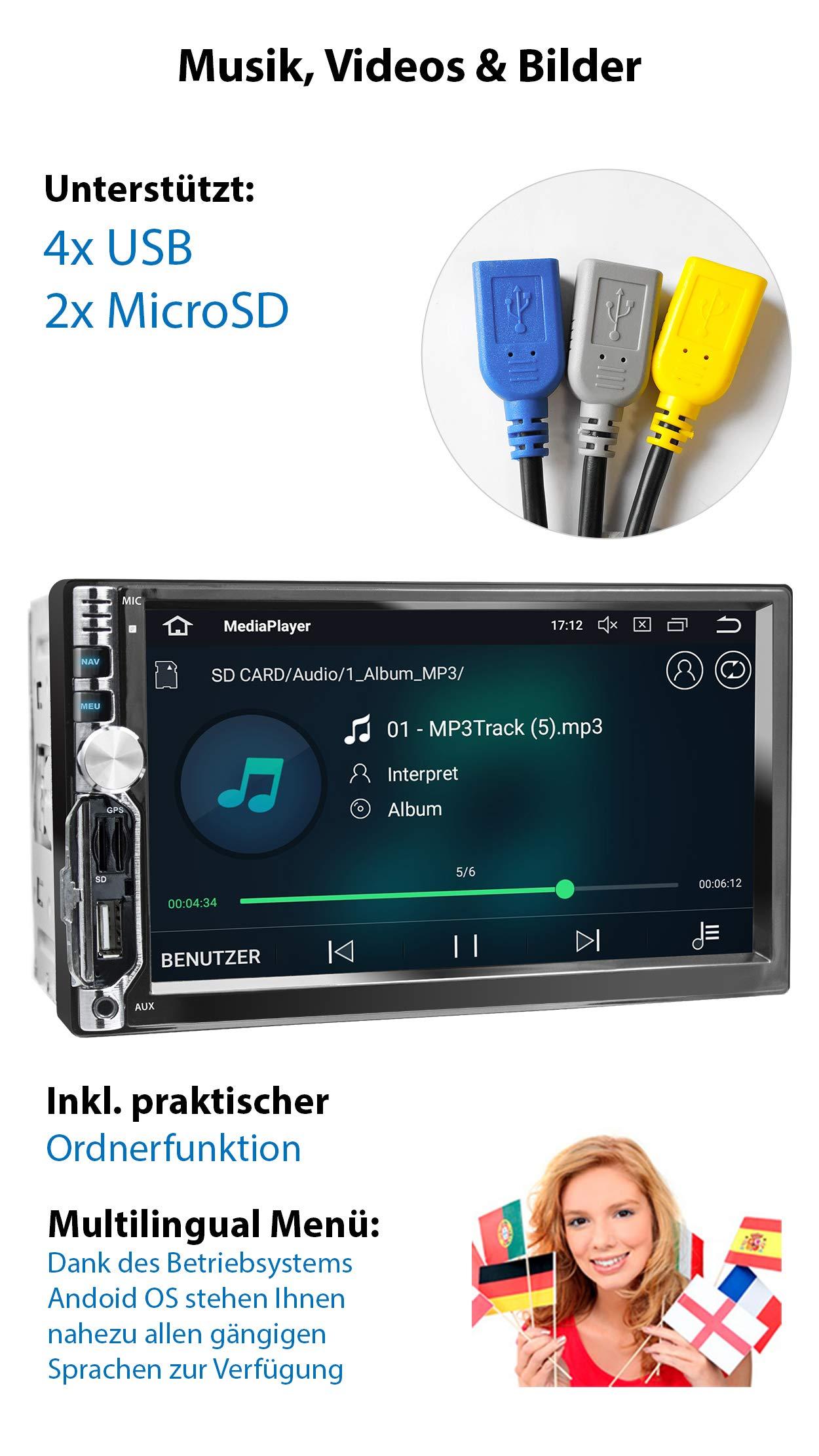XOMAX-XM-2VA756-Autoradio-mit-Android-81-QuadCore-2GB-RAM-16GB-ROM-GPS-Navigation-I-Support-WiFi-WLAN-3G-4G-DAB-OBD2-I-Bluetooth-7-Zoll-18-cm-Touchscreen-USB-SD-AUX-2-DIN