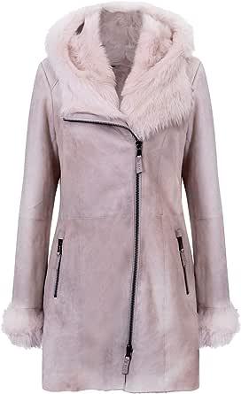 Infnity Leather Giacca da Donna in Pelle Scamosciata di Montone Merino Scamosciata Grigia