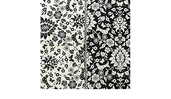 958fbca269820 Amazon.de  Dekostoff Wendestoff Meterware Vogel Ornament schwarz weiß