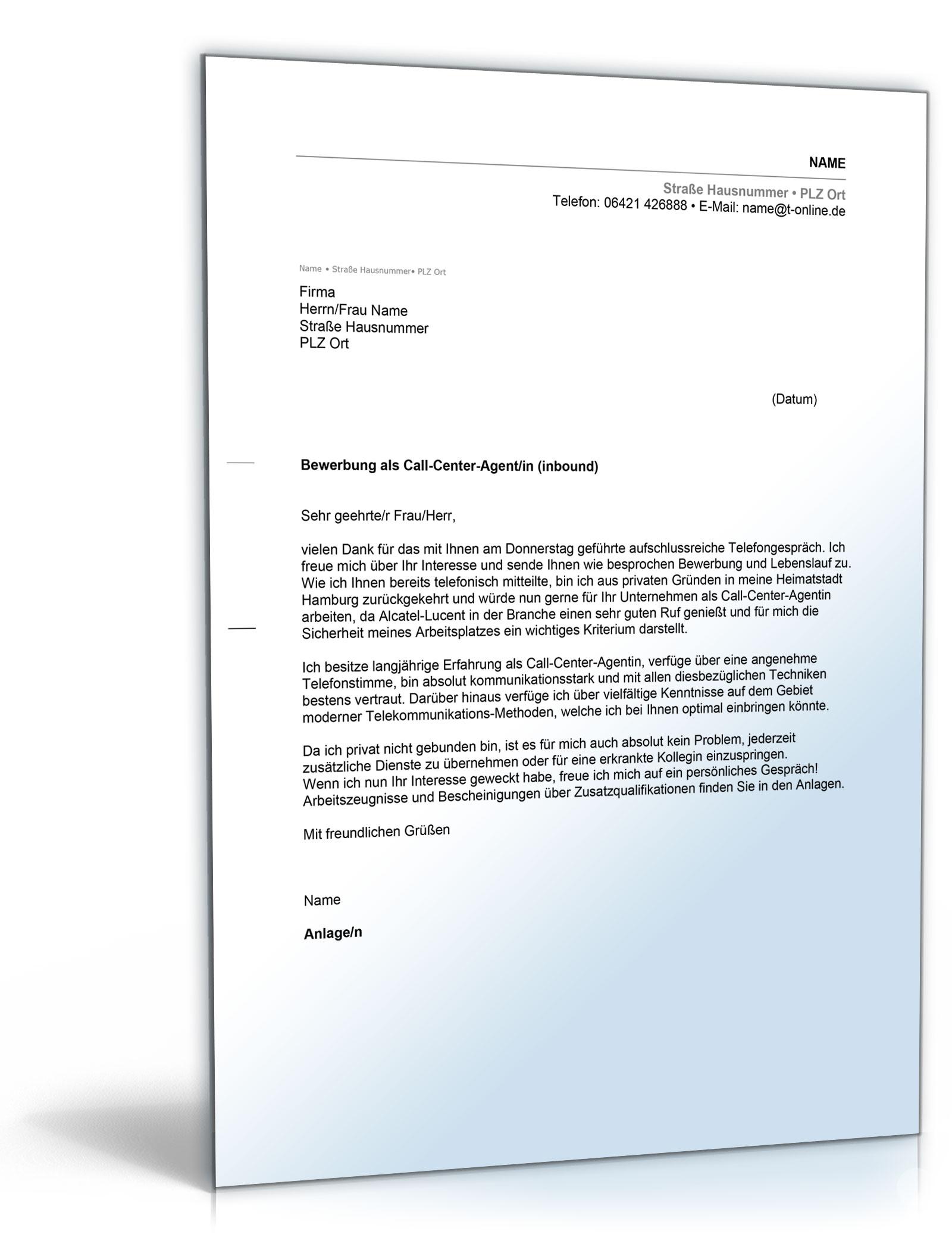 Anschreiben Bewerbung Call-Center-Agent [Word Dokument] [Download]