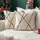 MIULEE Fundas de Cojines Funda de Almohada Chenilla Navidad para Sofá Diseño Rayas Geométricos Decoracion para Oficina Cama S