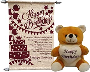 Natali Happy Birthday Teddy With Birthday Scroll Card