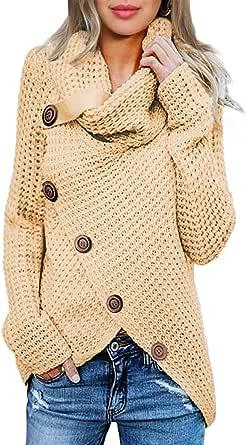 Aleumdr Maglione Donna Collo Alto Pullover Donna Felpa Maglia Maglione Donna Asimmetrica Pullover Donna Elegante Casual Maglione Maniche Lunghe Maglione Invernale con Bottoni