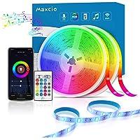 Ruban LED Musical Intelligente WiFi, Maxcio Bande LED 10M 5050 RGB IP65 Étanche Compatible avec Alexa/Google Home, Contrôlé à Distance par Smartphone,LED Ruban Synchronise avec Musique pour Noël, Fête