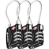 Fosmon (3 stuks) 3-cijferige combinatiehangsloten met aluminium behuizing voor reistas, koffer, kluisjes, sportschool, fietss