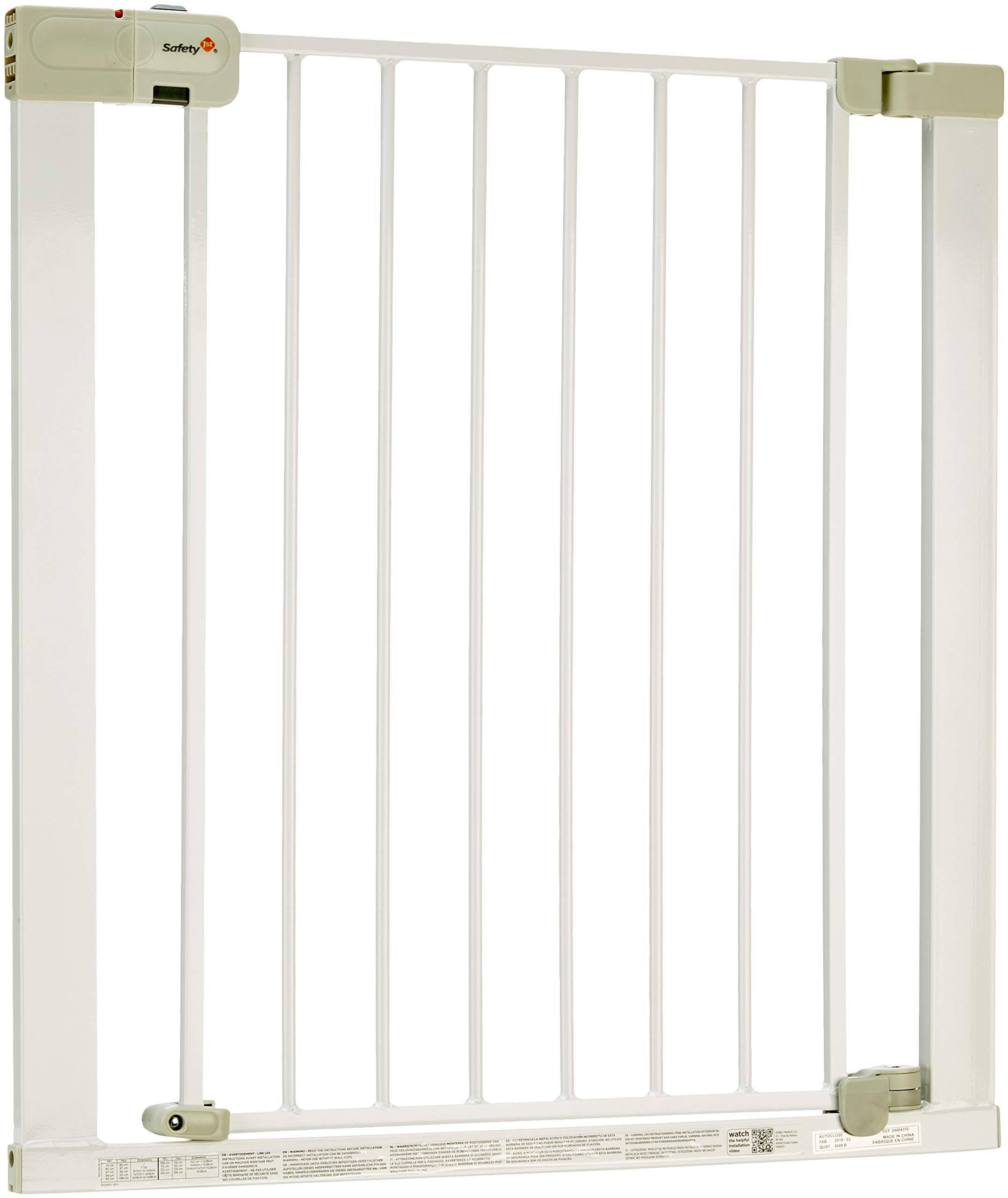 """Safety 1st Secure Tech Auto Close Metal Gate, White Safety 1st One handed opening """"true"""" auto-closing whatever the opening amplitude U-shaped frame with 4 pressure points provides solid fit and doesn't require drilling Secure tech indicator shows the gate is safely locked into place 2"""