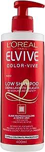 L'Oréal Paris Elvive Low Shampoo Color-Vive, Shampoo Delicato Senza Schiuma e Senza Solfati per Capelli Colorati, 400 ml