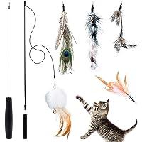 BTkviseQat Interaktives Katzenspielzeug Feder, Katzenspielzeug Einziehbare Natürliche Federstab Katze Spielzeug mit 5…