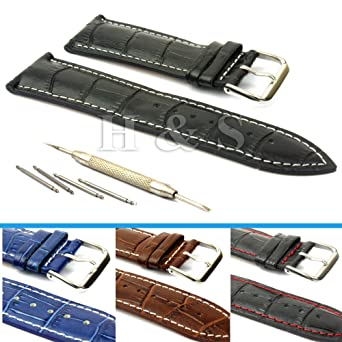 h s® mens pu leather watch strap band tool spring bar pins 18mm h s® mens pu leather watch strap band tool spring bar pins 18mm 20mm 22mm 24mm black 18mm amazon co uk watches