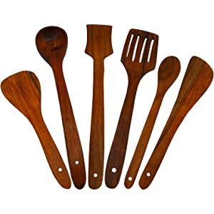 Craftgasmic Handmade Wooden Serving and Cooking Spoon Kitchen Utensils   Set of 6