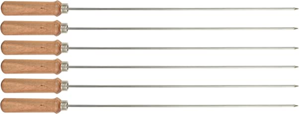 Savi Stainless Steel Tandoor/Bbq/Kabab/Barbeque Skewers (Silver, 18 Inch, 6 Pieces)