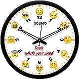 Amazon Brand - Solimo 12-inch Plastic & Glass Wall Clock - Mood Emojis (Silent Movement, Black Frame)
