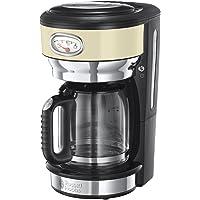 Russell Hobbs 21702-56 Machine à Café, Cafetière Filtre 1,25L Retro 1000W, Rapide, Plaque Chaude, Design Vintage - Crème
