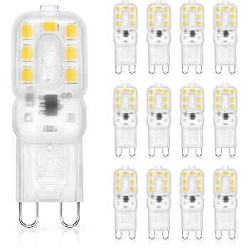 SHINE HAI bombillas LED G9 3W equivalentes a Lámparas halógenas de 25W,Blanco cálido 3000k
