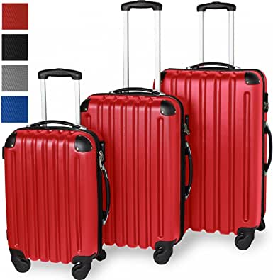 Three-Piece ABS Travel Luggage Set, Hard Shell Suitcase, Lightweight, 360° Swivel Wheels, Telescopic Aluminium Handle, Red