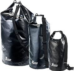 Xcase Packtaschen: Urlauber-Set wasserdichte Packsäcke 16/25/70 Liter, schwarz (Seesack mit Kissen-Funktion)
