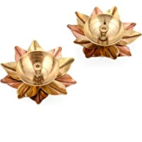 Collectible India Set of 2 Brass Small Antique Finish Lotus Shape Kamal Diya Oil Lamp for Home Temple Puja Articles Decor Gifts (2 Pcs)