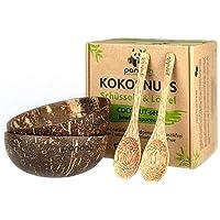 pandoo Lot de 2 bols en noix de coco avec cuillères - Produit 100 % naturel - Alternative sans plastique - Fait à la…