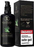ÖKO-Test Sehr Gut - SatinNaturel 97,5% Bio Aloe Vera Gel Vegan in 200 ml Glasflasche - Mit Hyaluronsäure, Bio Spirulina,...