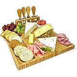 Superbe planche a fromage | Plateau fromage en bambou de grande qualité | Plateau a fromage comprenant 4 couteaux - Cadeau de