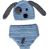 puseky Disfraz de bebé recién nacido para fotografía de bebé, gorro de punto con pantalones para niños y niñas