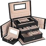 SONGMICS Boîte à bijoux, Organisateur à bijoux avec 2 tiroirs, Coffre à bijoux verrouillable avec miroir, Boîte de voyage por