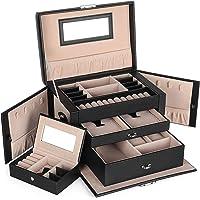 SONGMICS Schmuckkasten, Schmuckkästchen mit 2 Schubladen, abschließbarer Schmuck-Organizer mit Spiegel, herausnehmbare…