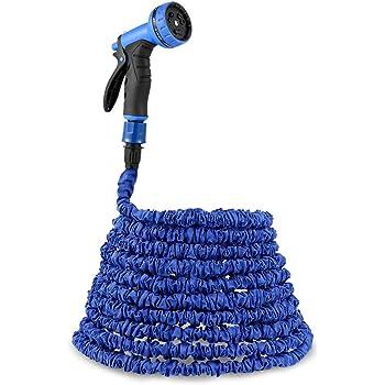 PLEMO Wasserschlauch Gartenschlauch Flexibel von 7,5 bis 23 Meter ausgedehnt, Brause mit 9 Einstellungen aus Hochwertigem Kunststoff, Anschließbar an 1/2 und 3/4 Zoll Wasserhahn, Blau