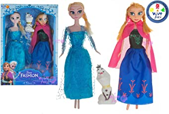 Wish key Girl's Plastic Frozen Princess Sisters Anna and Elsa Dolls with Snow Olaf (Multicolour)