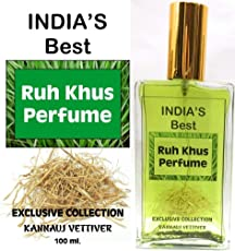 Indra Sugandh Pure and Natural Vetiver Ruh-Khus with Green-Khus Crystals Perfume for Men and Women, 100ml