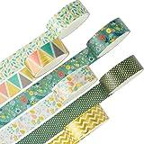 YUBX Washi Tape, Masking Tape ruban décoratif Imprimé Feuille d'or pour arts et travaux manuels de bricolage, scrapbooking, B