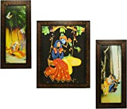 Indianara 3 PC Set of Radha Krishna Paintings (1131) Without Glass 5.2 X 12.5, 9.5 X 12.5, 5.2 X 12.5 inch
