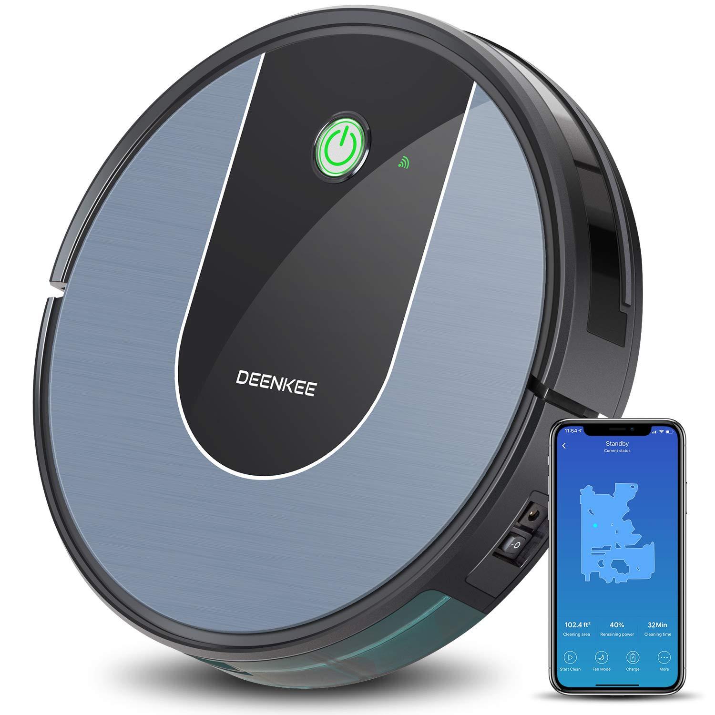 DEENKEE DK700 WLAN Saugroboter, Staubsauger Roboter mit App, Alexa für Tierhaare und Hartböden