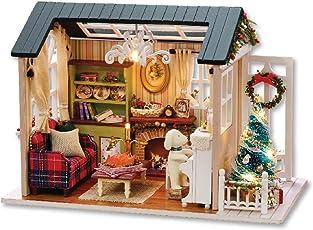 Decdeal DIY Puppenhaus Weihnachten Deko 3D Holz Miniaturhaus Kit mit LED Licht Kunsthandwerk Geschenk für Valentinstag, Kindertag, Weihnachten, Hochzeit, Geburtstag