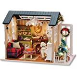 Decdeal DIY jul miniatyr dockhus kit realistisk mini 3D trä hus rum hantverk med möbler LED-lampor barnens dag födelsedagspre