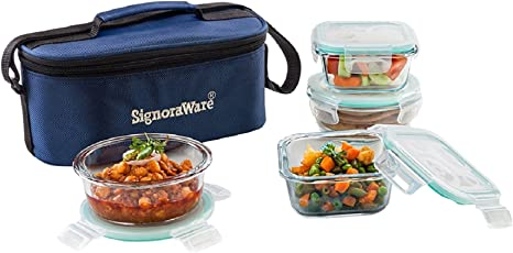 Signoraware Double Decker Glass Lunch Box Set, 4-Pieces, Clear