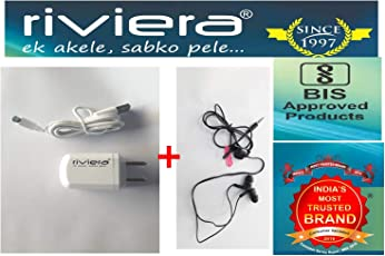 All Mobiles Supported 2 Port USB Charger + 1 USB Cable + Headphone with Mic Combo Offer Riviera Brand Bis Approved Quality