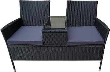 FROADP Poly Rattan balkonmöbel gartenmöbel Set schwarz - mit 2-er Sofa, Singlestühle, Tisch und Sitzauflage - Gartenmöbel Lounge Farbwahl