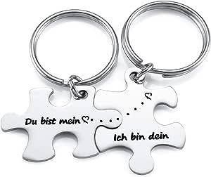 Jovivi Portachiavi a forma di puzzle in acciaio inox con incisione per partner, coppia di portachiavi