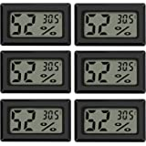 Thlevel Mini Termómetro Higrómetro Digital Interior de Temperatura y Humedad, Negro (6 PCS - A)