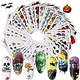 50 Stks Halloween Nagel Sticker Set, EBANKU 3D DIY Nagel Art Foils Nagel Tips Nagelstickers 3D Zelfklevend Nagel Tenen Decals