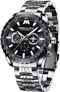 MEGALITH Orologio Uomo Militari Acciaio Cronografo Orologi da Polso Grande Impermeabile Analogico Luminoso Data