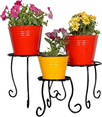 magic matels Wrought Iron Pot Stand, 26x26x26cm (Black) - Set of 3