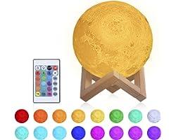 Lampe Lune 3D, 15CM RGB Moon Lampe, 16 couleurs 4 modes d'éclairage, Veilleuse LED avec Télécommande, USB Rechargeable, Inter